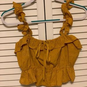 NWOT FOREVER 21 MUSTARD PINCHED CROP LARGE